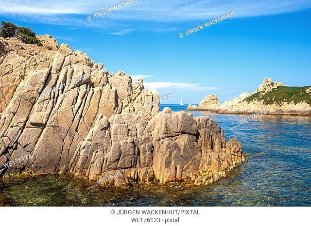 Rocky coast at the Cap Camarat with the island Rocher des Portes, Ramatuelle, Var, Provence-Alpes-Cote d Azur, France, Europe