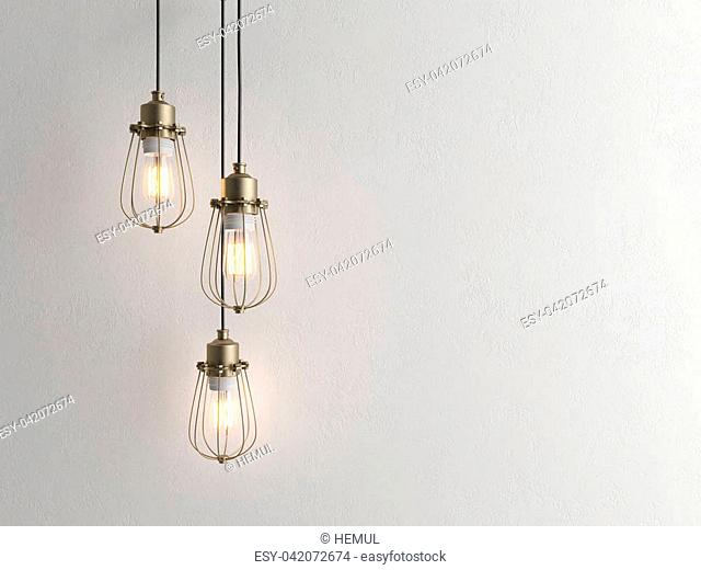 Three vintage lamps hanging from the ceiling with wall 3 D renderind