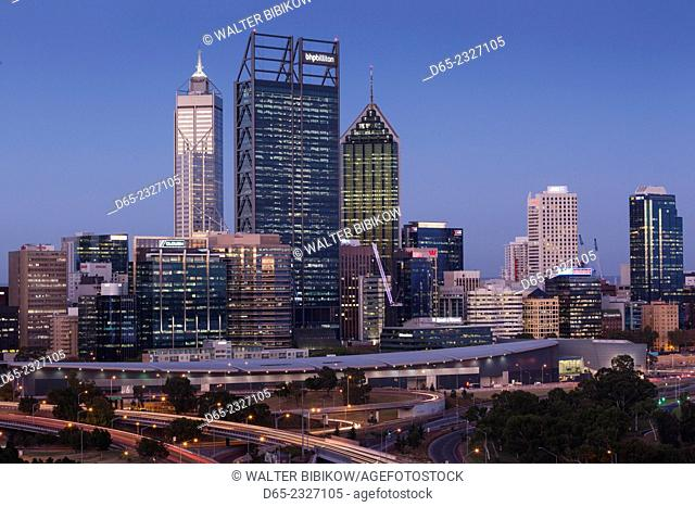 Australia, Western Australia, Perth, city skyline from Kings Park, dusk