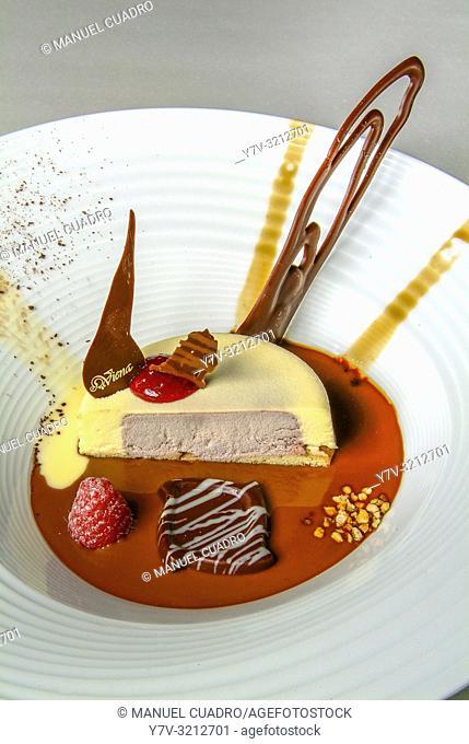 Pastel de Bizcocho, fruto del bosque, bombón y chocolates (sponge cake with berries and chocolate); especialidad de la cocina Riojana, La Rioja, Spain