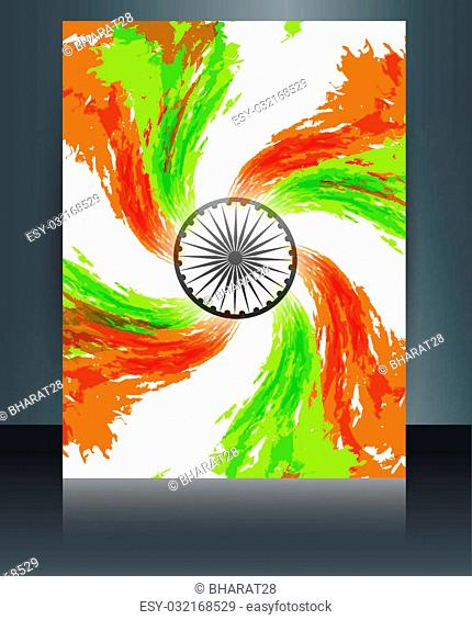 Indian flag presentation template grunge swirl tricolor wave for republic day brochure art vector