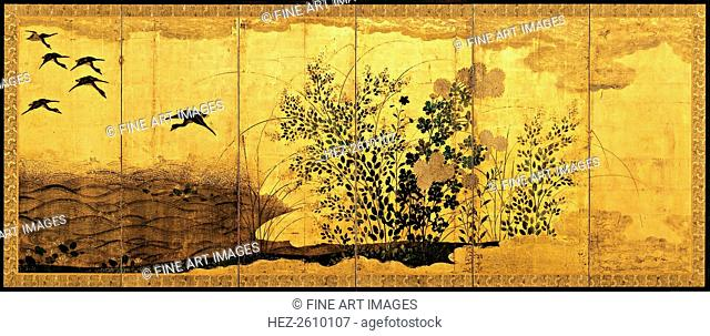Autumn landscape with wild geese, c. 1650. Artist: Anonymous