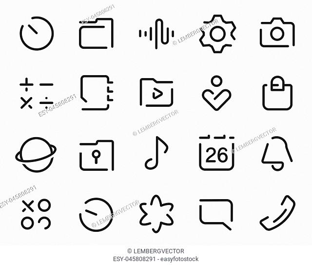 Dashed Outline universal smartphone ui Icons set. Editable user interface stroke icon. Vector thin line vector icon set for web design and website application