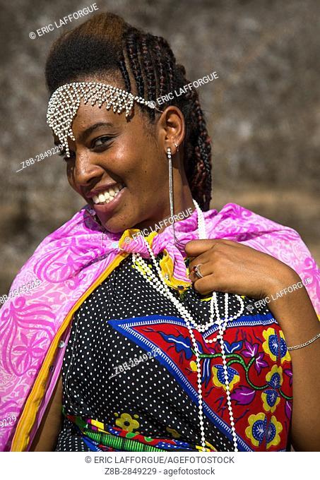 Portrait of a smiling Borana tribe woman during the Gada system ceremony in Borana tribe, Oromia, Yabelo, Ethiopia