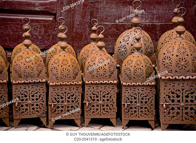 Metal Lanterns for sale in the street of the Medina, Marrakech, Morocco, North Africa