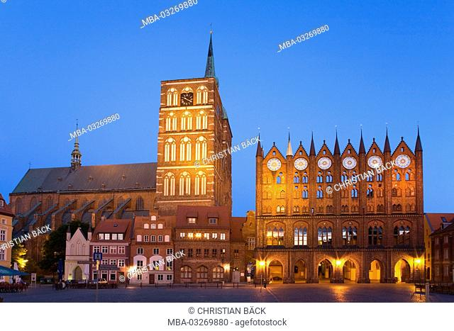 Nikolai church and city hall in the old market, Hanseatic town Stralsund, Mecklenburg-Western Pomerania, North Germany, Germany