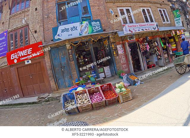 Vegetable Street Shop, Street Scene, Thamel District, Kathmandu, Nepal, Asia