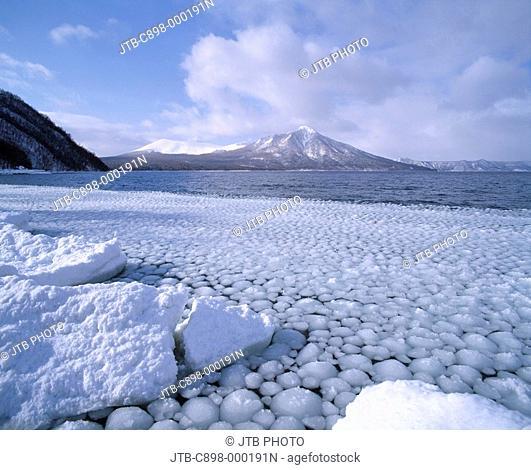 White Snow Ice Winter Lake Shikotsu Tarumae-san Chitose Hokkaido Japan