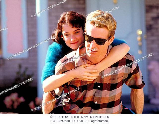 Jun 30, 1989; Los Angeles, CA, USA; Actor DENNIS QUAID stars as Jerry Lee Lewis and WINONA RYDER as Myra Gale Lewis in the Jim McBride directed biography