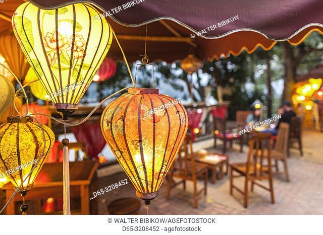 Laos, Luang Prabang, lanterns along Mekong Riverfront