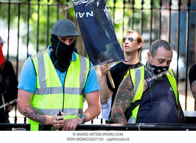 Far right anti semitic demonstration staged in Whitehall, London Featuring: Atmosphere Where: London, United Kingdom When: 04 Jul 2015 Credit: Mario Mitsis/WENN