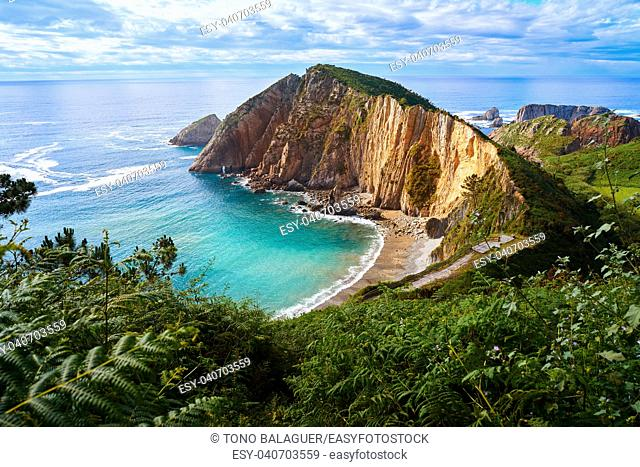 Playa del Silencio in Cudillero Asturias from Spain