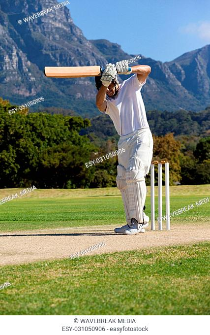 Cricket player playing on field