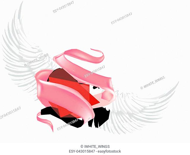 Vector realistic heart with angel wings, elegant pink silk satin ribbon with space for text around. Happy valentines day, symbol of love, care, togetherness