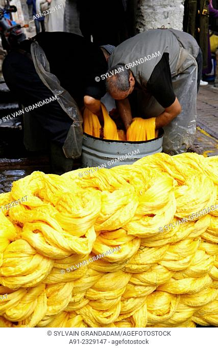North Africa, Morocco, City of Fez (Fes), Medina, dyers quarter, dying yellow wool