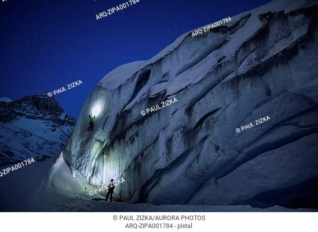 Night time ice climbing at Athabasca Glacier