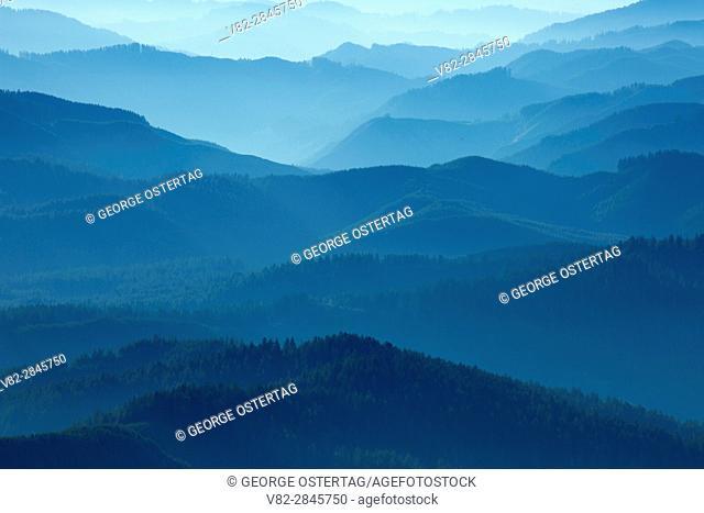Coast range ridges in haze from Marys Peak, Marys Peak Scenic Botanical Area, Siuslaw National Forest, Oregon
