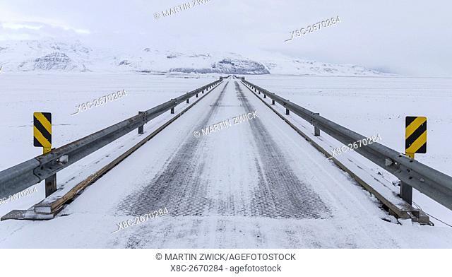 Bridge over the Skeitherarsandur during Winter. europe, northern europe, iceland, February
