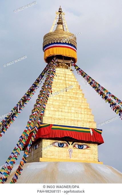 Boudhanath-Stupa in the nepali capital Kathmandu. One of the most important Buddhist sites.   usage worldwide. - Kathmandu/Nepal