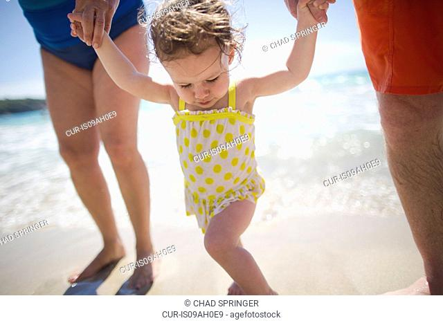 Toddler and grandparents holding hands, walking on beach