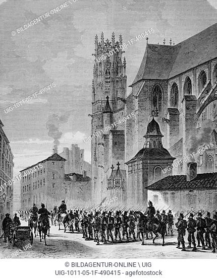 North german landwehr marching through pont-a-mousson, illustrated war history, german - french war 1870-1871