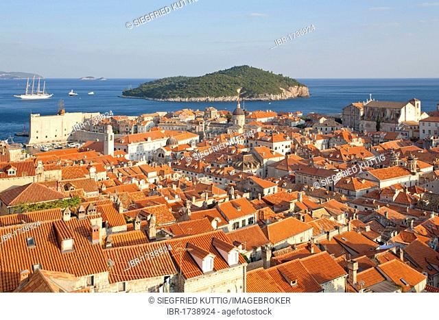 Panoramic view of the roofs of the old town of Dubrovnik from Minceta Tower, Southern Dalmatia, Adriatic Coast, Croatia, Europe