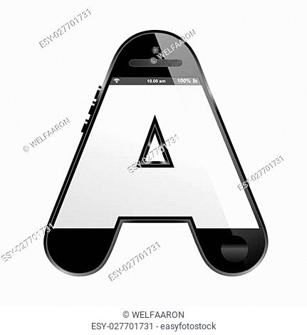 smartphone like shaped alphabet design showing the letter A