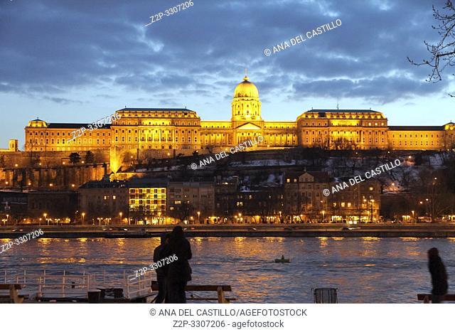 Castle Danube river at Budapest at dusk