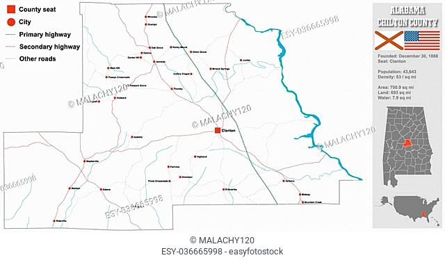 Large and detailed map and infos about Chilton County in Alabama