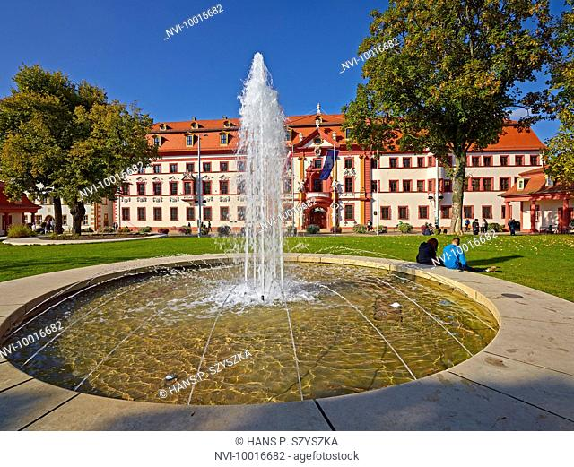 Fountain with Kurmainzischen Statthalterei, today Thuringian State Chancellery in Erfurt, Thuringia, Germany