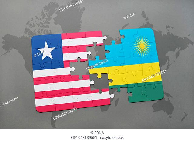 puzzle with the national flag of liberia and rwanda on a world map background. 3D illustration