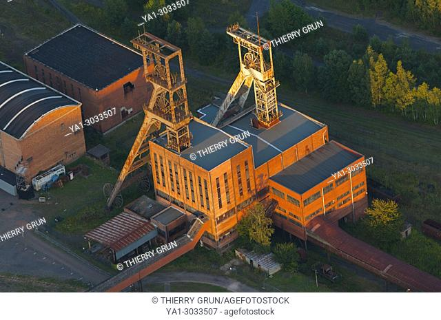 France, Moselle (57), Forbach, Petite-Rosselle, Carreau Wendel, coal mine museum Musee des mineurs, coal mine shaft Wendel 1 and 2 (aerial view)