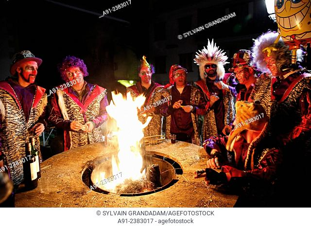 Switzerland, Valais, Val d'Herens, village of Evolene, Carnaval, Savieze Guggen (percussions and drums orchestra) directed by Michel Debons and playing at night...