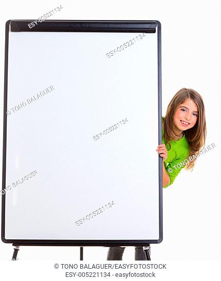 child kid happy girl with blank flip chart white copy space smiling