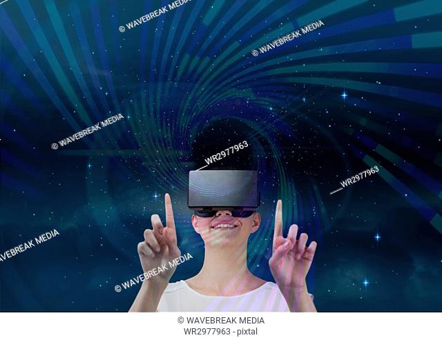 Woman in VR headset touching purple and green interface against blue sky with stars