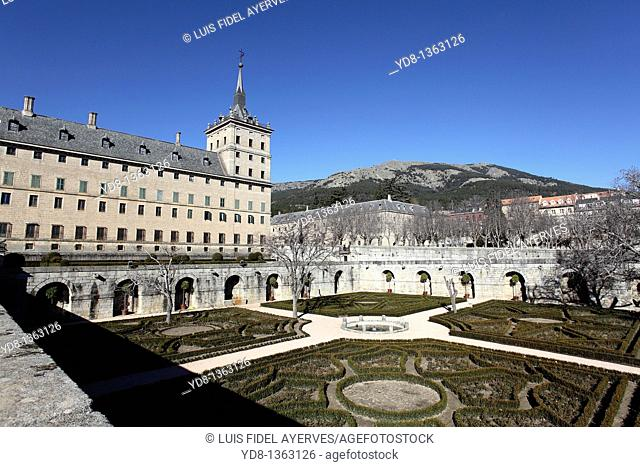 Panoramic View from the gardens of the Monastery of San Lorenzo del Escorial, Madrid, Spain