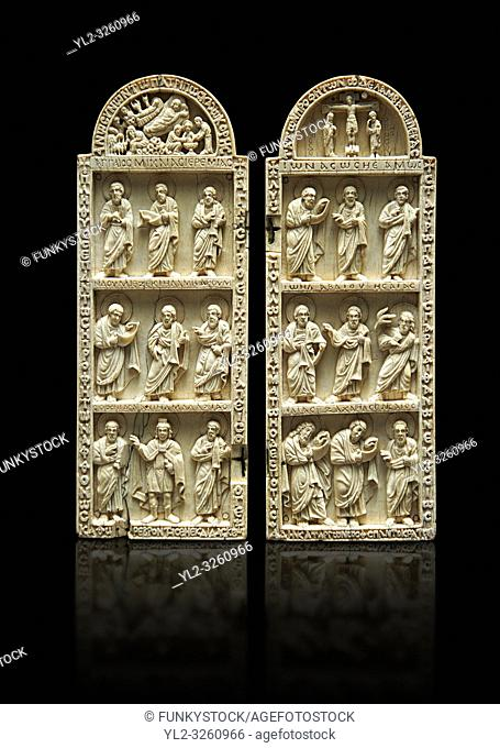 Medieval Christian ivory diptych depicting the Nativity, the crucifixion and the Profits. Thirteenth century probably from Byzantine Roman Constantinople