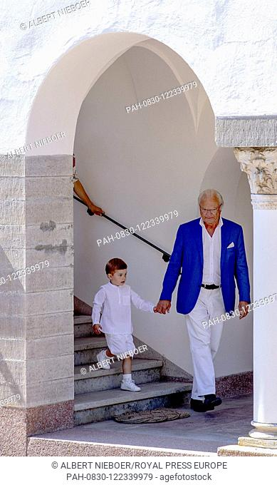 King Carl Gustaf and Prince Oscar of Sweden at Solliden Palace in Borgholm, on July 14, 2019, to attend the celebrations of Crown Princess Victoria her 42nd...