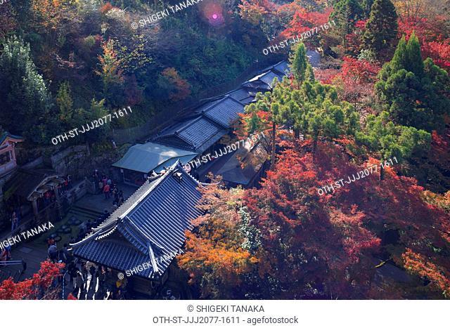 Otowa-no-taki, the waterfall where visitors drink for health, longevity and success in studies, Kiyomizu-dera temple in Autumn, Kyoto, Japan