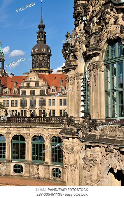 foreshortening of baroque museum building with castle in background, dresden, the buildings has been rebuilt after second world war damages