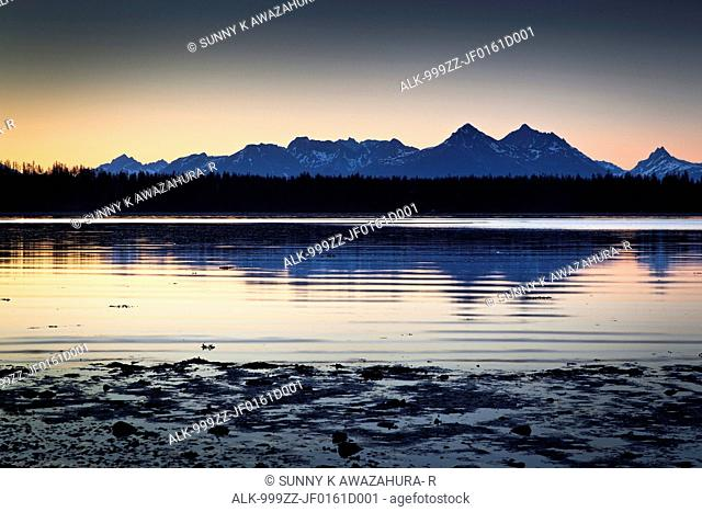 Scenic sunset view of Bartlett Cove, Glacier Bay National Park & Preserve, Southeast Alaska, Summer