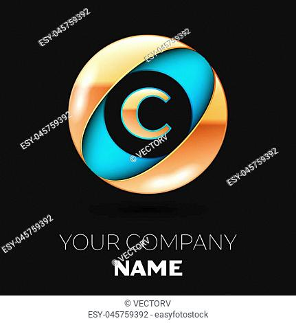 Realistic Golden Letter C logo symbol in the blue-golden colorful circle shape on black background. Vector template for your design