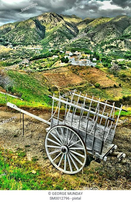Ox Cart Near Frigiliana,. Costa del Sol, Malaga Province,. Andalucia, Spain
