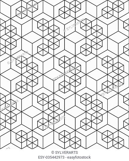 Rhythmic contrast textured endless pattern with cubes, continuous black and white geometric background