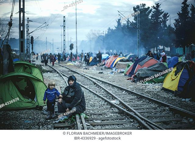 Camp with refugees on the train tracks, refugee camp in Idomeni, border with Macedonia, Greece