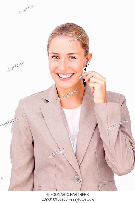 Assertive customer service representative using headset