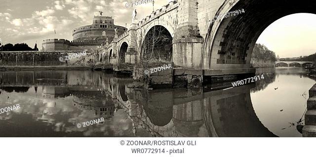 Panoramic view on famous Saint Angel bridge, Rome
