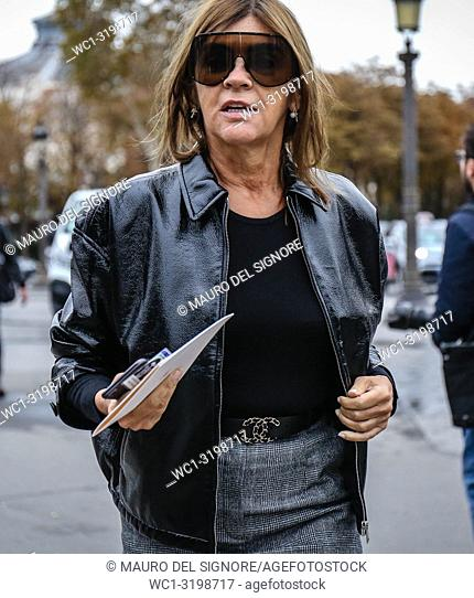 PARIS, France- October 2 2018: Carine Roitfeld on the street during the Paris Fashion Week