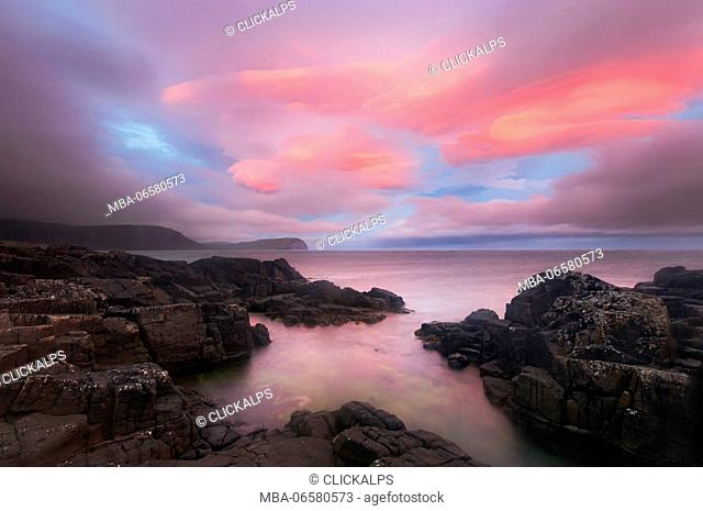 Europe, Scotland, Skye Island - Painted clouds at Neist Point