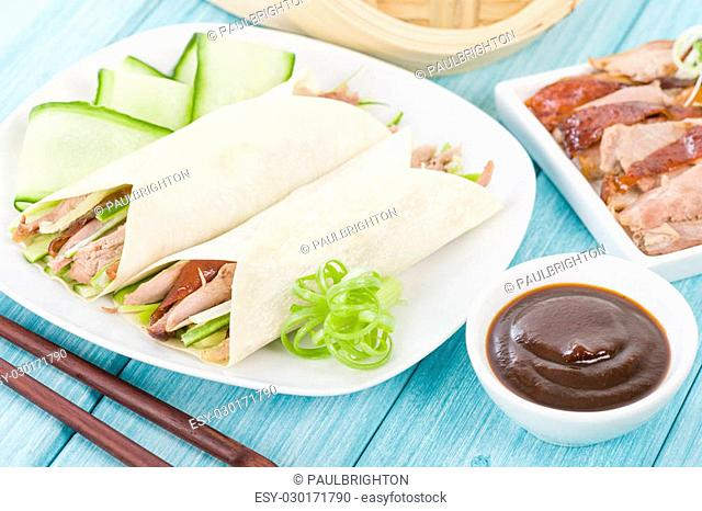 Cucumber and hoisin sauce Stock Photos and Images | age